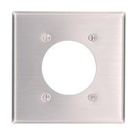 2-Gang Standard Size with 2.15 in. Dia Hole and Power Outlet Wall Plate in Aluminum