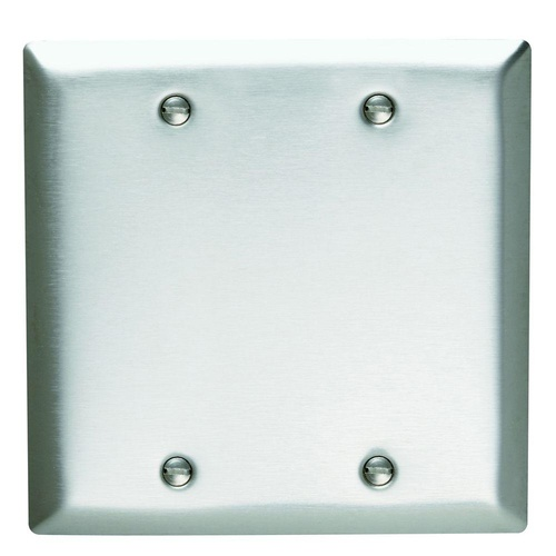 2 Gang Blank Wall Plate - Stainless Steel